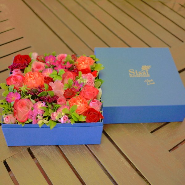 Lサイズ Sissiオリジナルフラワーボックス 正方形 クリスマス バレンタイン ホワイトデー 誕生日 花 ギフト プレゼント 到着後レビューを書いて送料無料|sissi|05
