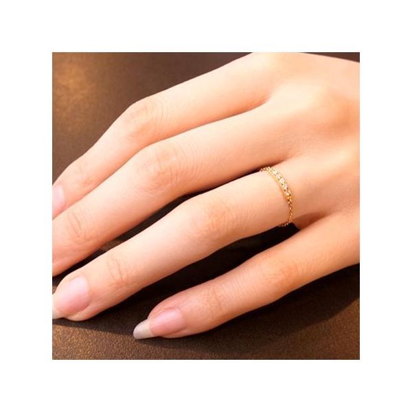 """リング チェーンリング K18 18金 ダイヤモンド  """"RAILレール"""" 0.05ct"""