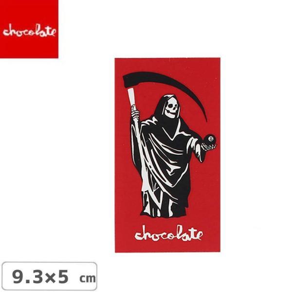 CHOCOLATE チョコレートステッカー スケボー  LOGO STICKER レッド 9.3cm x 5cm NO26