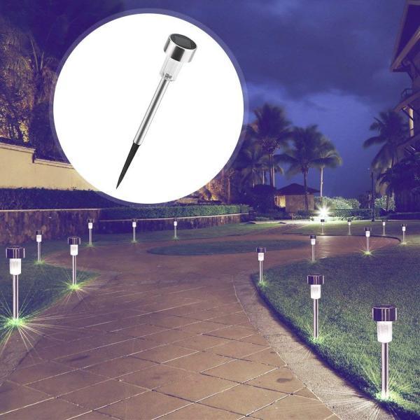 LEDガーデンライト ソーラーライト パスライト ステンレス製 防水 耐衝撃 光センサー感知 自動点灯消灯 埋め込み式 10本セット sky-sky 02