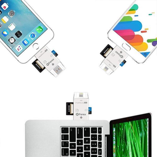 IOS10対応(ホワイト) カードリーダー iOS・Android対応 SD/TFカードリーダー iPhone/iPad/Android/コンピューター用 トレイルカメラ用SDカードリーダー|sky-sky|03