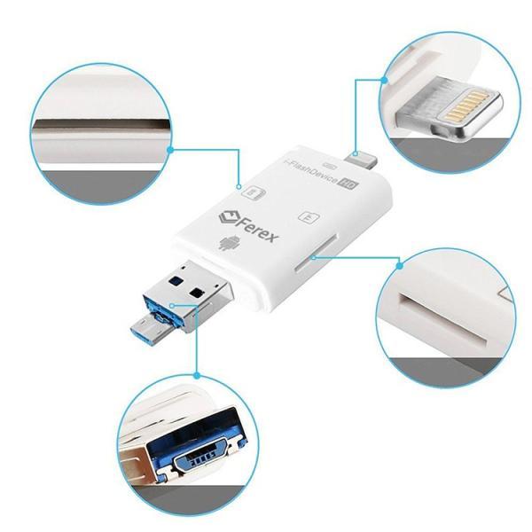 IOS10対応(ホワイト) カードリーダー iOS・Android対応 SD/TFカードリーダー iPhone/iPad/Android/コンピューター用 トレイルカメラ用SDカードリーダー|sky-sky|06