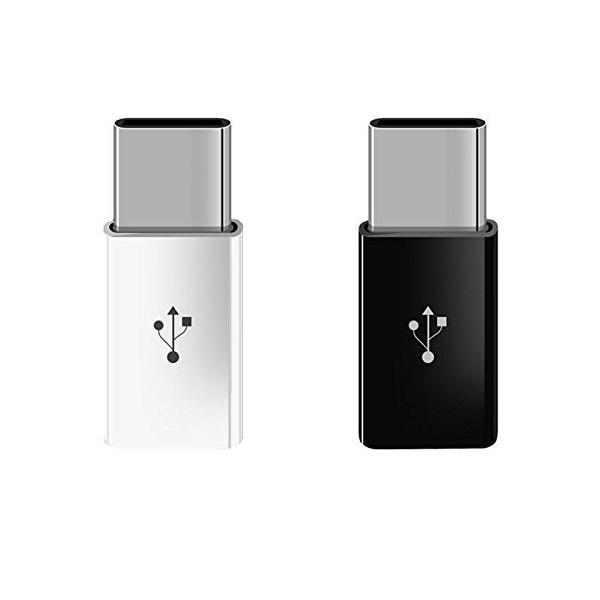 【2個セット】USB-C & Micro USB アダプタ Type-C 変換プラグ (Micro USB → USB-C変換アダプタ / 56Kレジスタ使用 / Quick Charge対応)|sky-sky