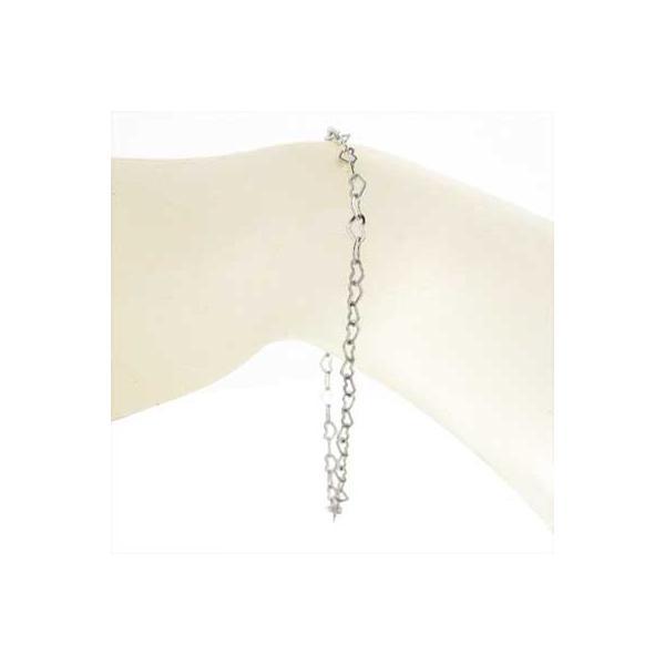 k18ホワイトゴールド ブレスレット フラットハートチェーン 0.45mm フラットハート|skybell-shop|02