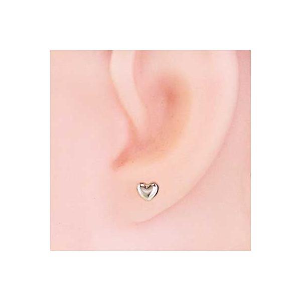 両耳 ピアス ハート スタンダード 18金ホワイトゴールド 約3mm キャッチ付|skybell-shop|02