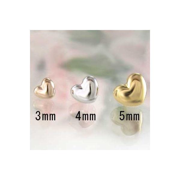 両耳 ピアス ハート スタンダード 18金ホワイトゴールド 約3mm キャッチ付|skybell-shop|05