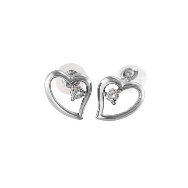 両耳 ピアス オープン ハート ダイアモンド 4月誕生石 プラチナ900 キャッチ付き|skybell-shop
