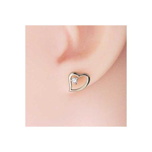 両耳 ピアス オープン ハート ダイアモンド 4月誕生石 プラチナ900 キャッチ付き|skybell-shop|02