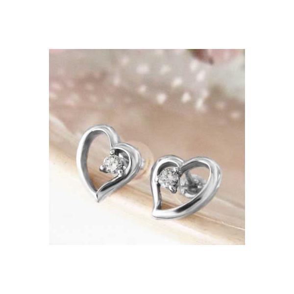 両耳 ピアス オープン ハート ダイアモンド 4月誕生石 プラチナ900 キャッチ付き|skybell-shop|05