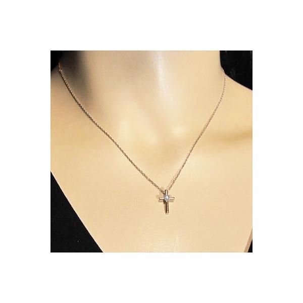 ペンダント ネックレス k18ピンクゴールド クロス 一粒石 天然ダイヤモンド 4月誕生石 skybell-shop 02