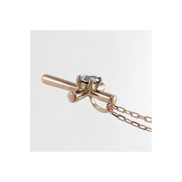 ペンダント ネックレス k18ピンクゴールド クロス 一粒石 天然ダイヤモンド 4月誕生石 skybell-shop 03