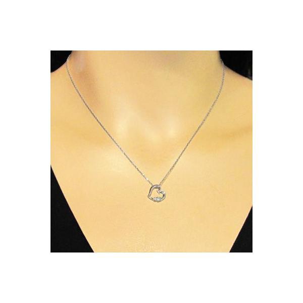 ジュエリー ネックレス プラチナ900 オープン ハート 天然ダイヤ 4月誕生石|skybell-shop|02