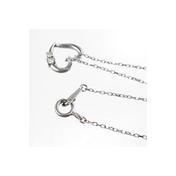 ジュエリー ネックレス プラチナ900 オープン ハート 天然ダイヤ 4月誕生石|skybell-shop|04