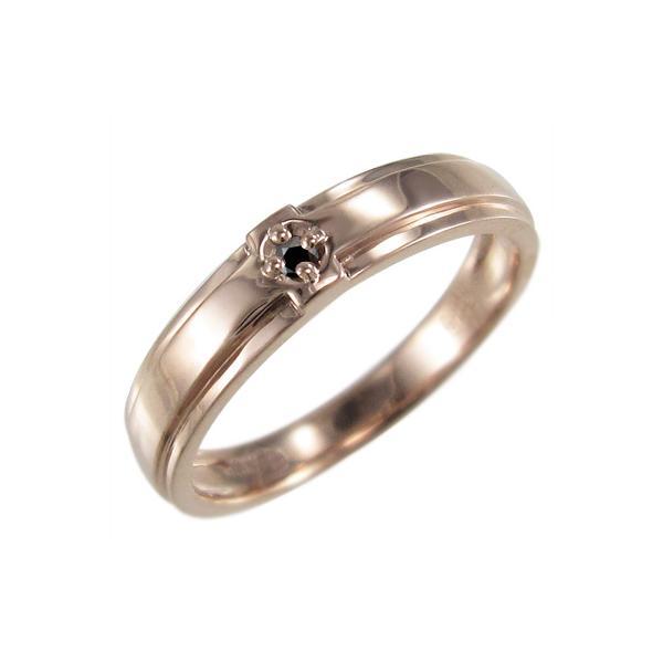 10kピンクゴールド リング クロス十字架 一粒石 4月誕生石 ブラックダイヤモンド(黒ダイヤ)