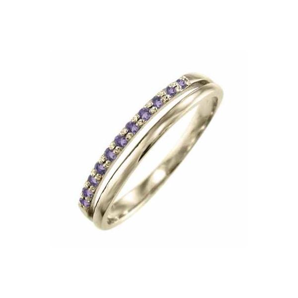 k10イエローゴールド リング 2月の誕生石 アメジスト(紫水晶)