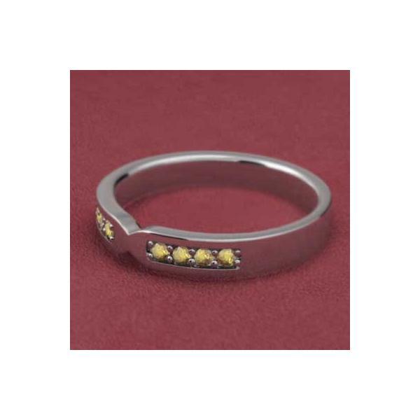 プラチナ900 平打ち指輪 シトリン(黄水晶)