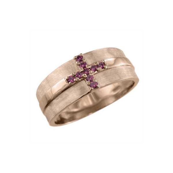 10kピンクゴールド リング ルビー 7月の誕生石 クロス十字架