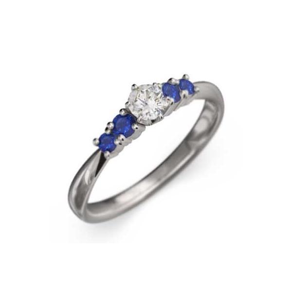 指輪/サファイア(青)/天然ダイヤモンド/18kホワイトゴールド