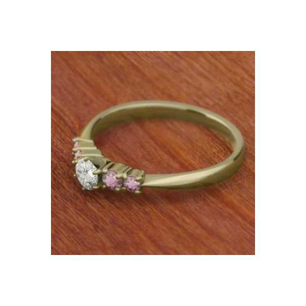 指輪/K18/ピンクトルマリン/天然ダイヤモンド/10月誕生石