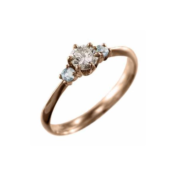 ピンクゴールドk18・オーダーメイド婚約指輪にも・アクアマリン・天然ダイヤモンド・3月誕生石
