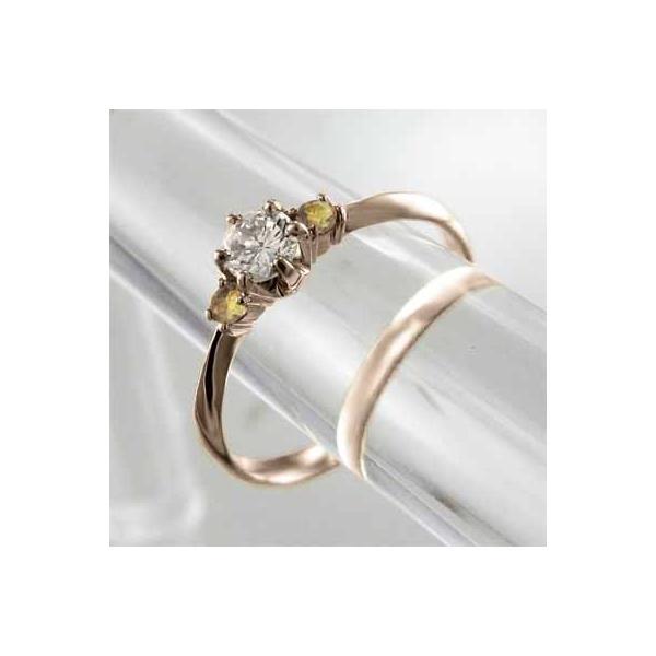 オーダーメイド婚約指輪にも シトリントパーズ 天然ダイヤモンド 18金ピンクゴールド 11月誕生石