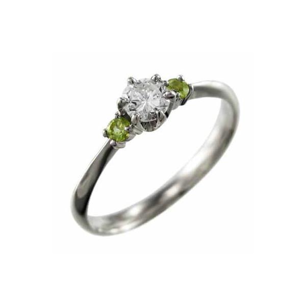 オーダーメイド婚約指輪にも ペリドット 天然ダイヤモンド Pt900 8月の誕生石