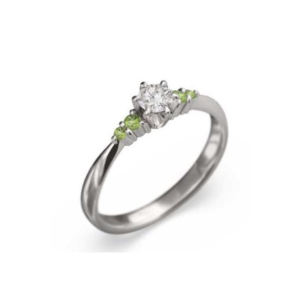 白金(プラチナ)900 オーダーメイド婚約指輪にも ペリドット 天然ダイヤモンド 8月の誕生石
