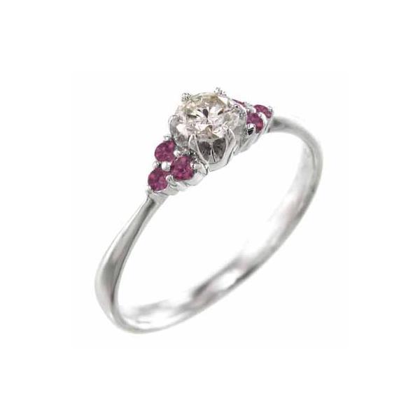 ルビー・天然ダイヤモンド・オーダーメイド婚約指輪にも・ホワイトゴールドk18・7月誕生石