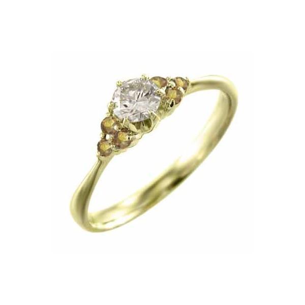 18金イエローゴールド オーダーメイド婚約指輪にも 11月の誕生石 (黄水晶)シトリン 天然ダイヤモンド