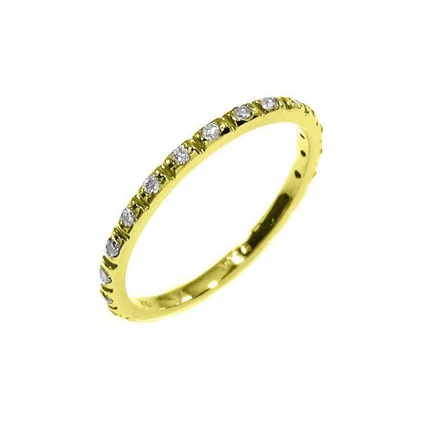 天然ダイヤ ハーフ エタニティ 指輪 4月誕生石 k18イエローゴールド|skybell-shop