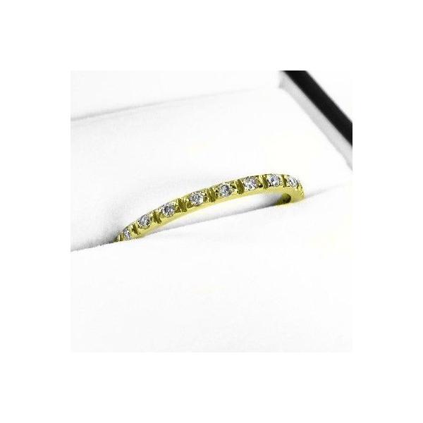 天然ダイヤ ハーフ エタニティ 指輪 4月誕生石 k18イエローゴールド|skybell-shop|03