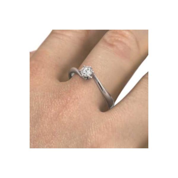18金ホワイトゴールド 婚約指輪 一粒石 4月誕生石 天然ダイヤモンド