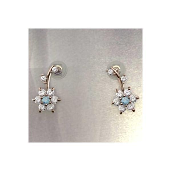 ペアピアス 18金ピンクゴールド ブルートパーズ(青) 天然ダイヤモンド 11月誕生石 キャッチ付き