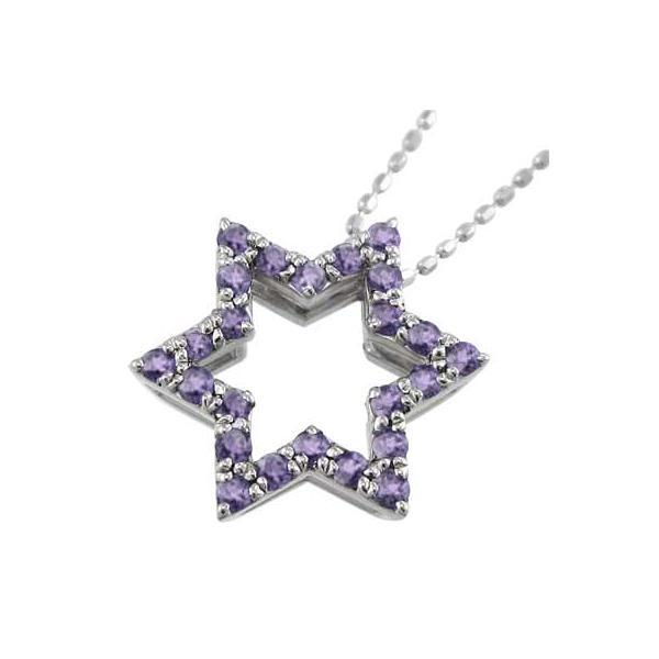 ペンダント ネックレス 六芒星 アメシスト(紫水晶) 2月の誕生石 18金ホワイトゴールド