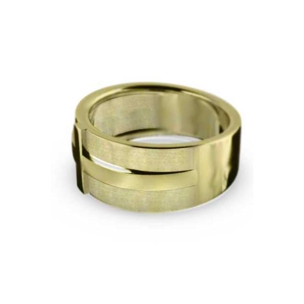 平打ちの指輪・スタンダード・クロスデザイン・イエローゴールドk18