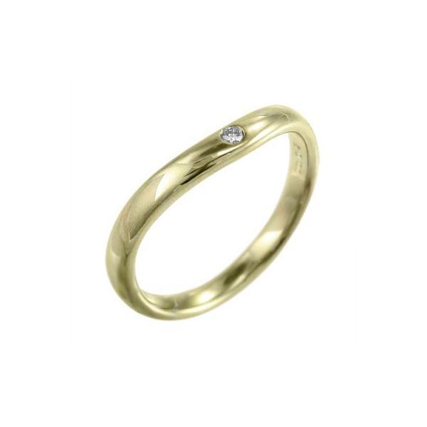 指輪 ブライダルリングにも 一粒 V字 ダイアモンド 4月誕生石 k10