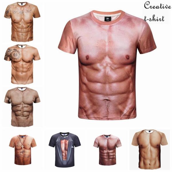 8タイプ筋肉創意デザインおもしろメンズtシャツ半袖夏ファッション3D高品質プリント