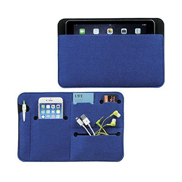 デジタル小物 PC機器 タブレットPC スマホ 収納ケース フラットなバッグインバッグ 鞄の中を整理整頓 【ブルー グリーン 2色セット】|skygarden|02