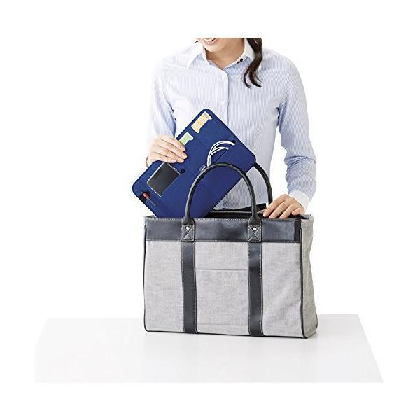 デジタル小物 PC機器 タブレットPC スマホ 収納ケース フラットなバッグインバッグ 鞄の中を整理整頓 【ブルー グリーン 2色セット】|skygarden|05
