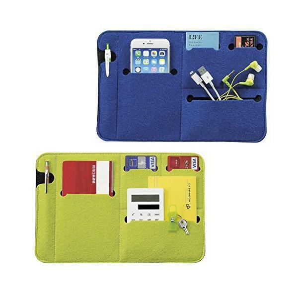 デジタル小物 PC機器 タブレットPC スマホ 収納ケース フラットなバッグインバッグ 鞄の中を整理整頓 【ブルー グリーン 2色セット】|skygarden|06