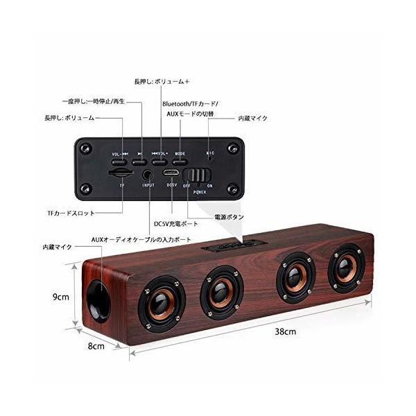Bluetoothスピーカー PC サウンドバー 木製 マイク内蔵 ワイヤレス 12W 2.0ch テレビ TV/PC対応 Soundbar Spe|skygarden|02