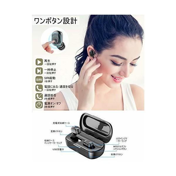 【2019進化版 Bluetooth5.0 最大8時間再生】ワイヤレス イヤホン 自動ペアリング 2200mAh充電ケース付き イヤホン bluet