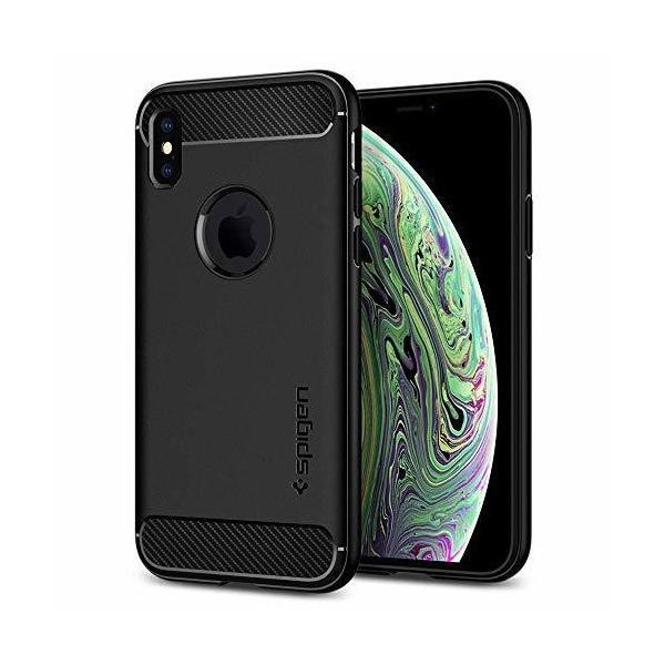 【Spigen】 スマホケース iPhone XS ケース/iPhone X ケース 5.8インチ TPU 米軍MIL規格取得 指紋防止 ラギッド・