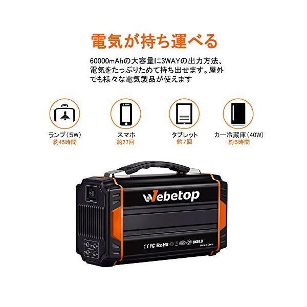 Webetop ポータブル電源 大容量 222Wh/60000mAh 正弦波 AC250W DC USB出力 ソーラーパネル充電可能 家庭用蓄電池|skygarden|02