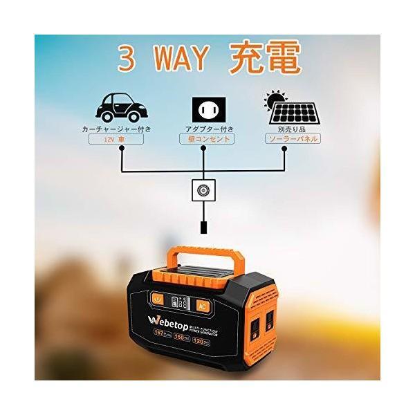 Webetop ポータブル電源 167Wh 大容量 AC(150W) DC USB出力 QC3.0急速充電 家庭用蓄電池 充電方法三つ ソーラーパネ|skygarden|03