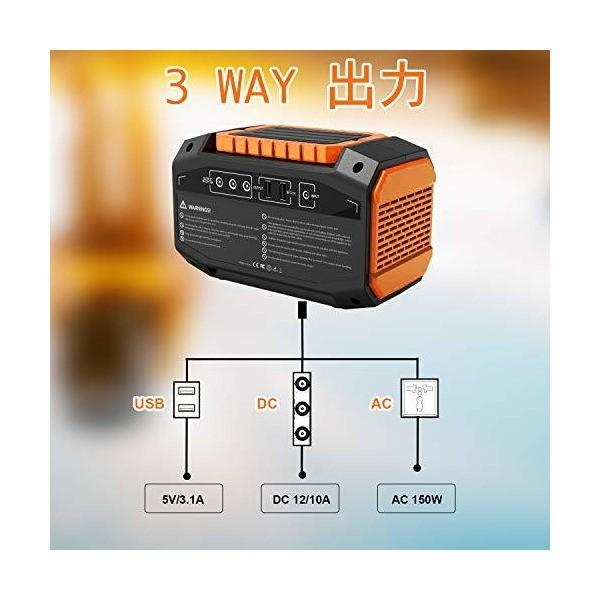 Webetop ポータブル電源 167Wh 大容量 AC(150W) DC USB出力 QC3.0急速充電 家庭用蓄電池 充電方法三つ ソーラーパネ|skygarden|04