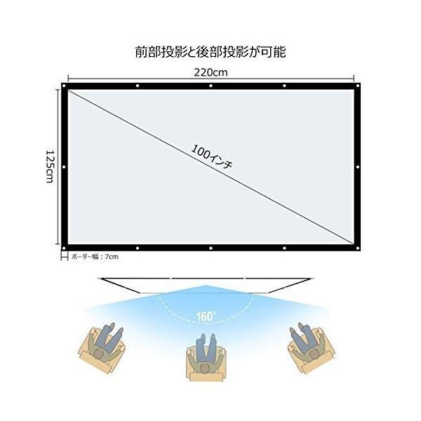 プロジェクタースクリーン 60インチ(16:9)折りたたみ式 持ち運びホームシェアタースクリーン PVC素材