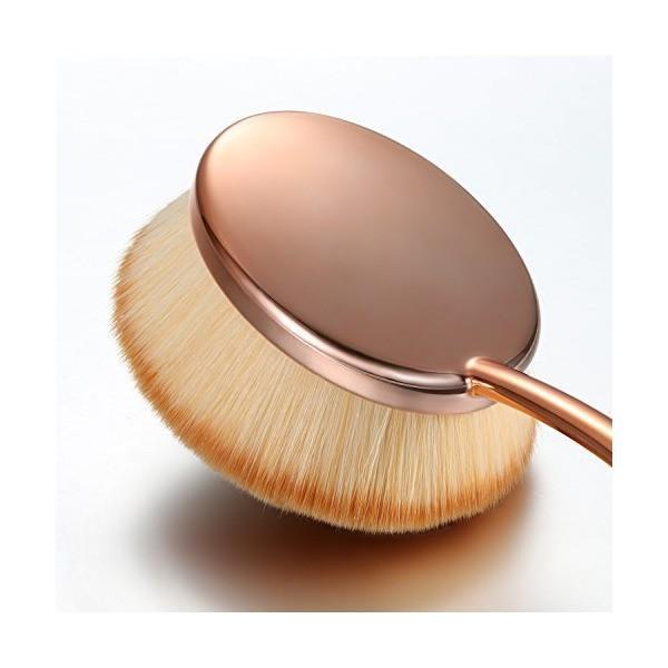 JewelryWe メイクブラシ 歯ブラシ型 ファンデーションブラシ 化粧ツール ピンクゴールド|skygarden|02