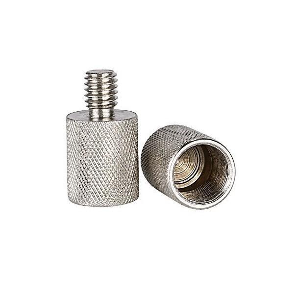 Neewer 3/8inオス-5/8inメスネジ変換アダプター(2点セット) ニッケル黄銅 頑丈 長持ち マイクマウントとスタンド用(シルバー)