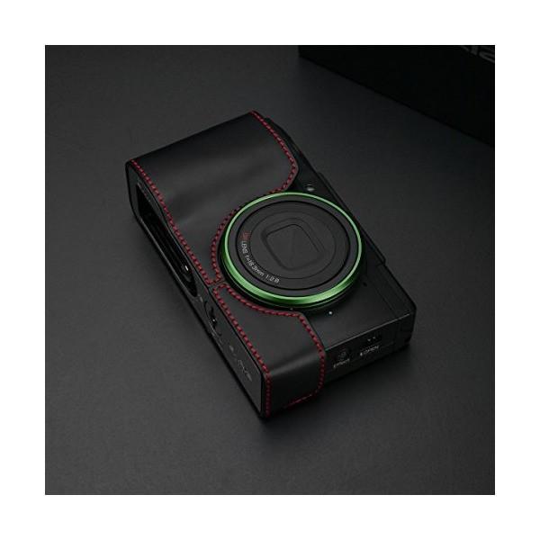 GARIZ RICOH GRII用 本革カメラケース XS-CHGRIIBKR ブラックレッドステッチ